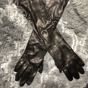 Neiman Marcus Long Black Leather Gloves
